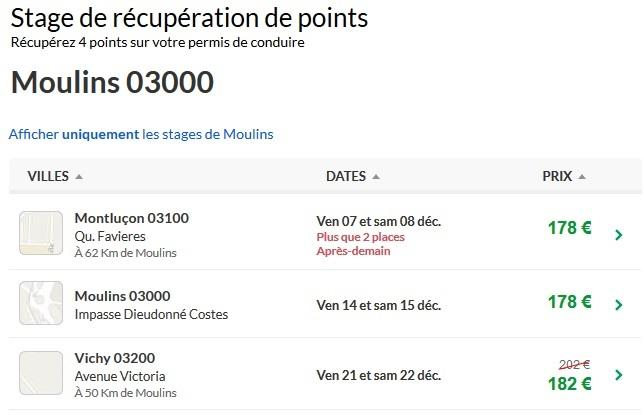stage recuperation de points gratuit moulins